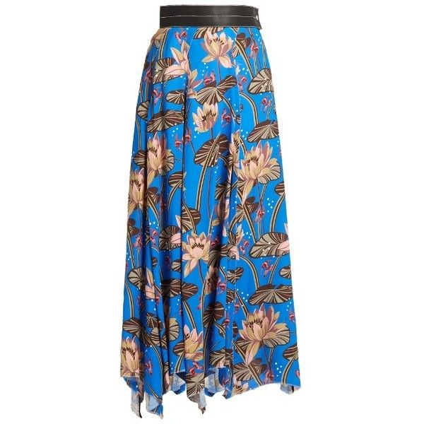 Loewe X Paulas Ibiza floral-print asymmetric-hem skirt (€1.645) ❤ liked on Polyvore featuring skirts, cobalt blue skirts, floral skirt, tropical print skirt, loewe and embellished skirt