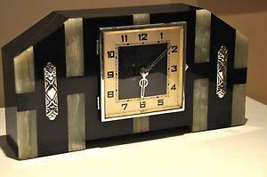 1920s-French-ART-DECO-Geometric-Mantel-Clock-Chrome-Green-Onyx-Black-Marble