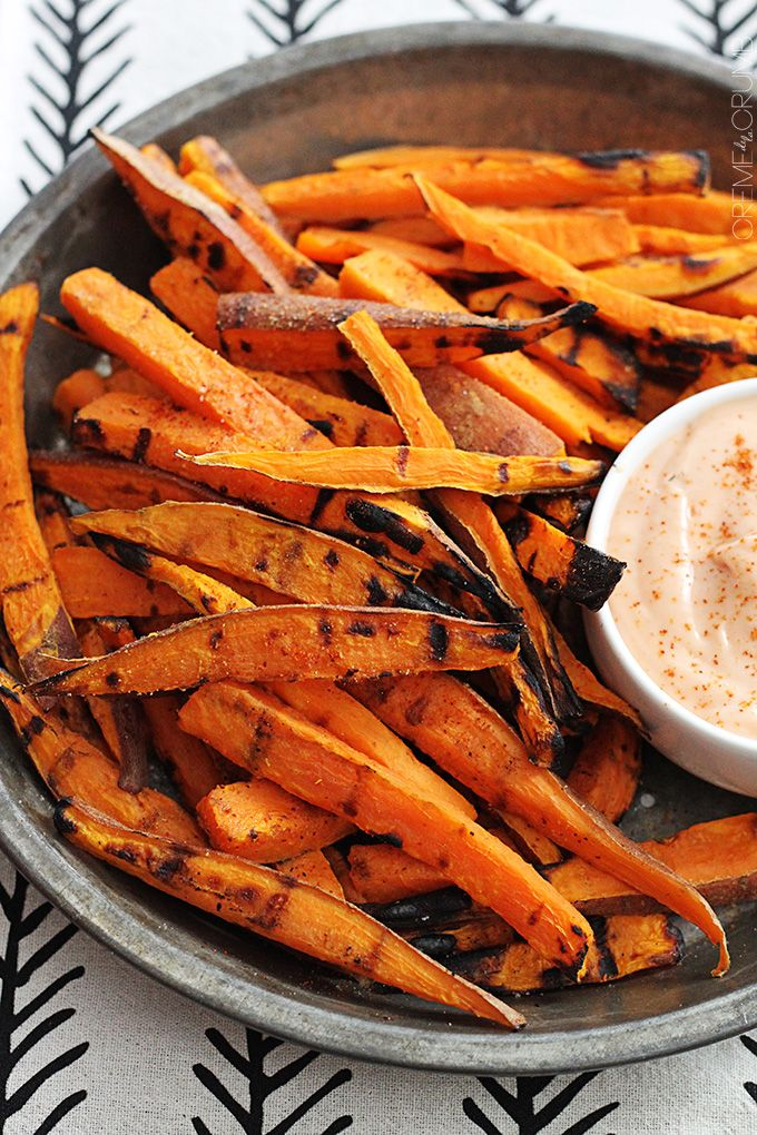 These grilled sweet potato fries have a little kick and are perfectly tender in the middle and crispy on the outside!