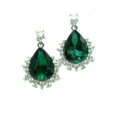 Emerald green teardrop diamante crystal earrings