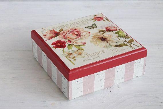 Shabby Chic rosas caja Vintage rosas joyería caja por ShabbyGifts