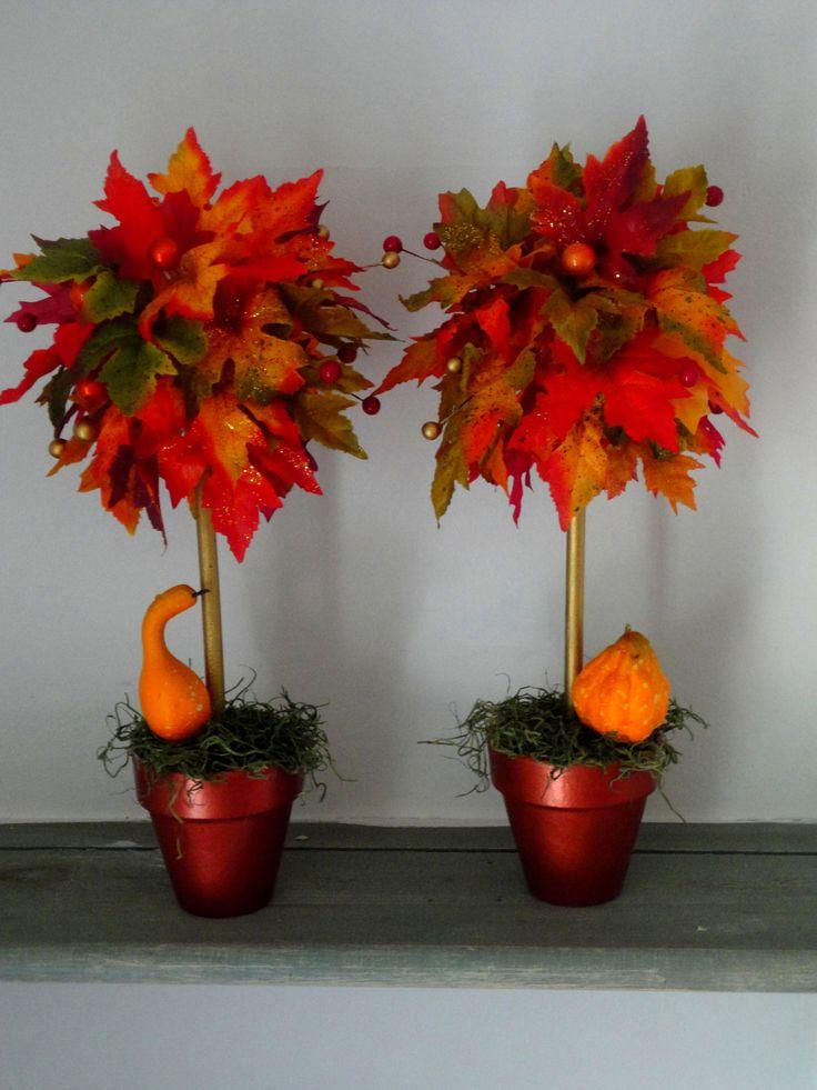 SET OF 2 - Fall Topiaries - Fall Centerpiece - Fall Decoration - Fall Wedding Centerpiece - Floral Arrangement - Table Decor - Mantle Decor. $37.00, via Etsy.