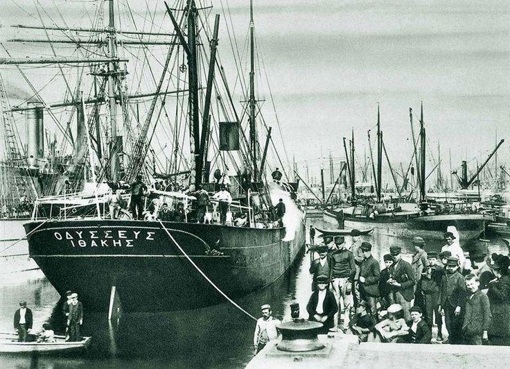 The 1892-built #steamship ODYSSEUS, acquired by George C. Dracoulis in 1903. /  Το ατμόπλοιο ODYSSEUS, κατασκευής 1892, που αγοράστηκε το 1903  από την οικογένεια Δρακούλη.
