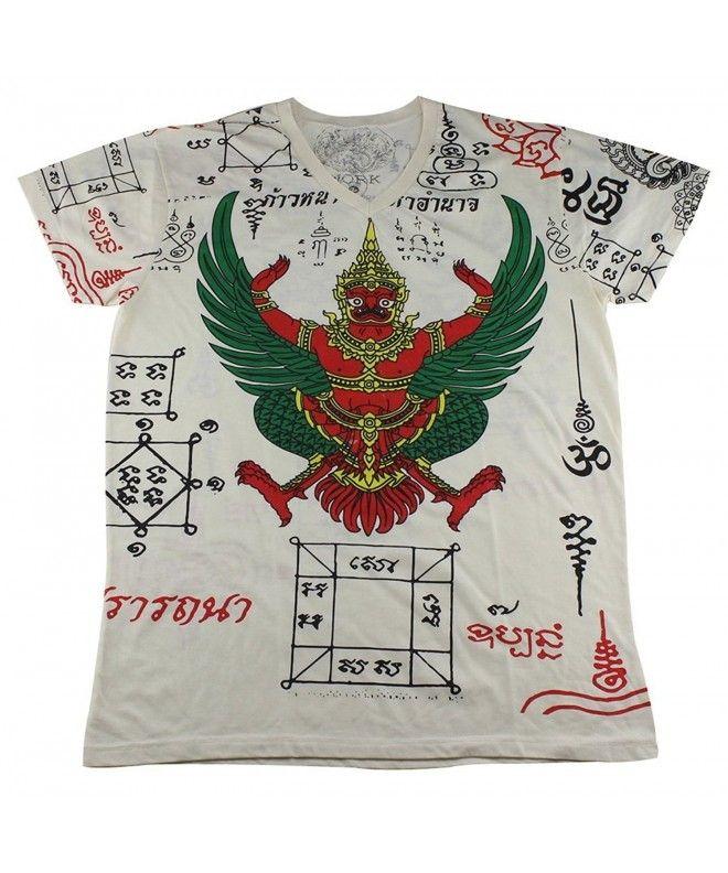 Tatouage Thaï T-Shirt de prière Sak Yant Khrut Garuda Blanc / WK09 taille M – C012HQRUS …  – Shirts for Men