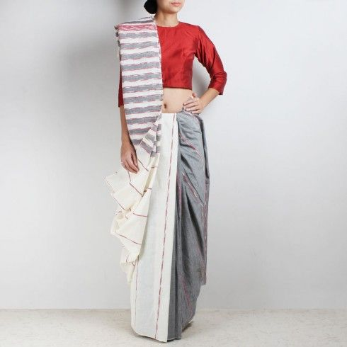 Handloom White-Grey Khesh Cotton Saree