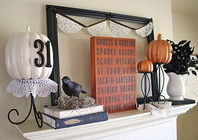 Halloween mantel with lots of DIY projects