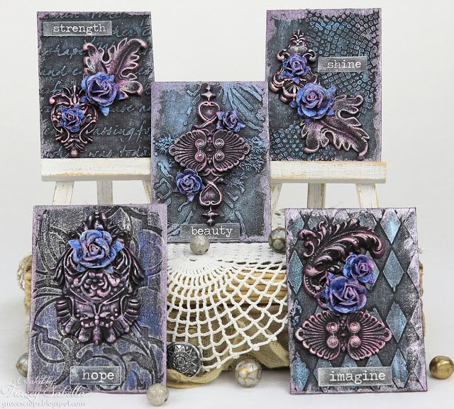 Scraps of Elegance scrapbook kits mixed media video tutorial: Prima IOD Paper Clay and Moulds and Finnabair style ATC Artist Trading Cards, w/our July2017 kit, by Tracey Sabella