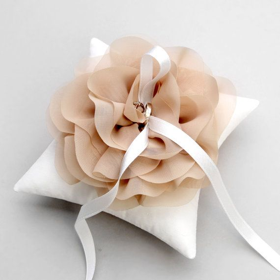 Wedding ring pillow bridal ring pillow flower ring by woomeepyo, $40.00