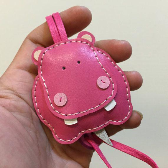 Small size - Hugo the Hippo cowhide leather charm ( Fuschia )
