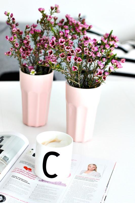 rose ceramic Drinkbekers van IKEA, ook prachtig als vaasje.