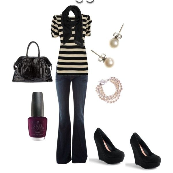 Stripes: Pearls Studs, Outfits Jeans, Fake Eyelashes, Cute Outfits, Fake Lashes, Wedges Shoes, Casual Outfits, Untitl 33, Black White Outfits