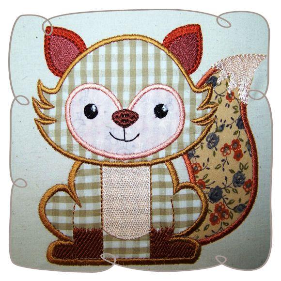 Applique Fox Critter Machine Embroidery design