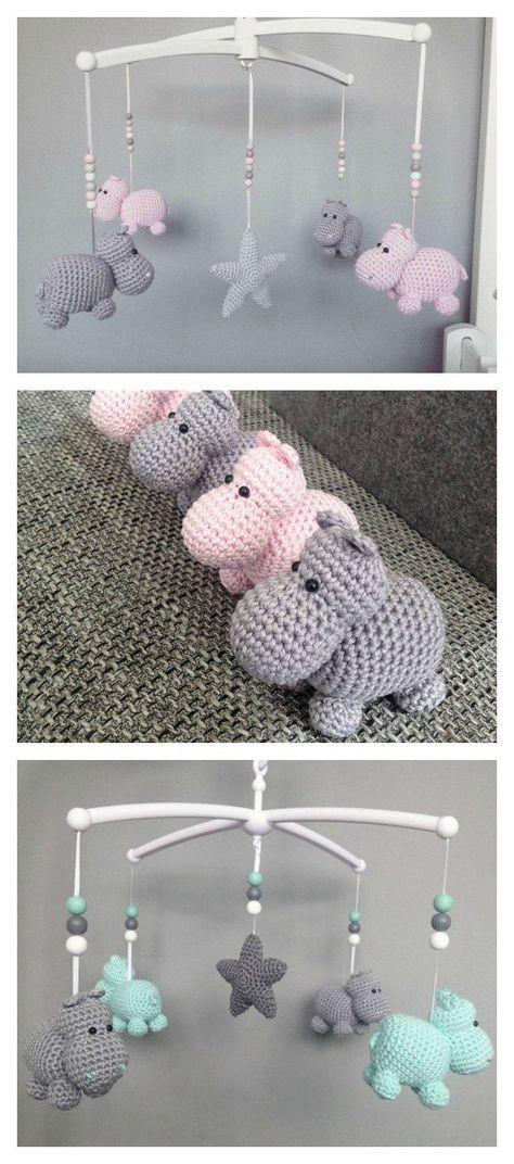 Crochet Hippo Animal Baby Móvil Libre Patrón