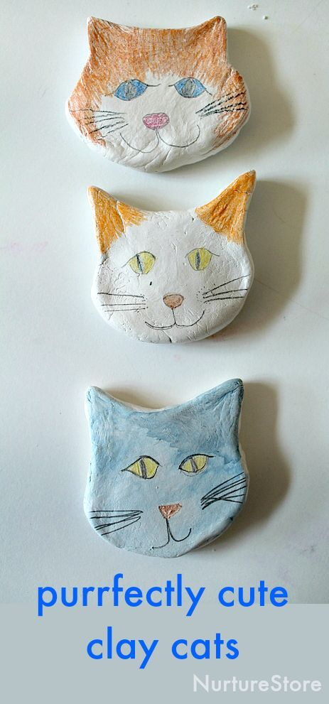 Cute cat craft for kids! How to use air drying clay to make a cat craft - great for an animal unit, a fun and easy clay project for children. Meow!