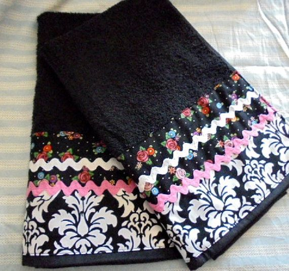 BLACK FLORAL and Paisley Custom Decorated Hand #Stockingstuffers by Sew1Pretty