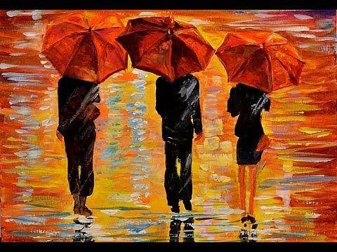 Более лучших идей на тему Уроки рисования акриловыми красками  Рисуем картину Под дождем prostoykarandash ru Уроки рисования карандашом уроки живописи маслом