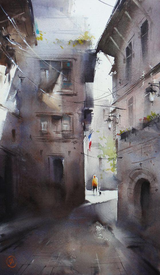 Ilya Ibryaev  - French patios - watercolor -53х35 cm
