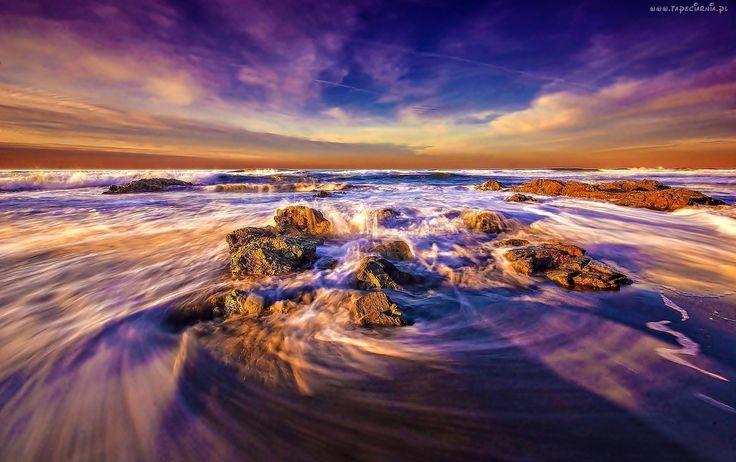 Morze, Skały, Fale, Zachód, Słońca
