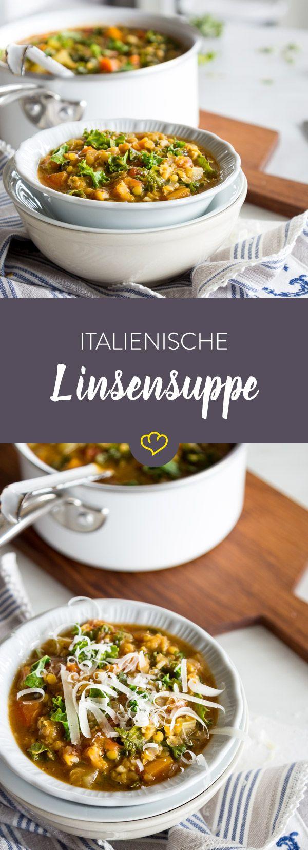 Mit diesem Rezept zauberst du dir einen Hauch Italien in deine Suppenschüssel. Neben Linsen tummeln sich Grünkohl und fein-wüzige Aromen in deiner Mahlzeit.