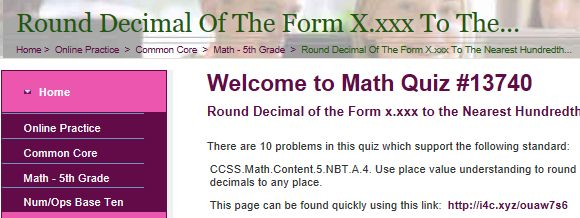 """This is an image from this resource on the Internet4Classrooms' """"Fifth Grade Interactive Math Skills - Decimals"""" resource page:    Round Decimal of the Form x.xxx to the Nearest Hundredth.    Online quiz that is self checking"""