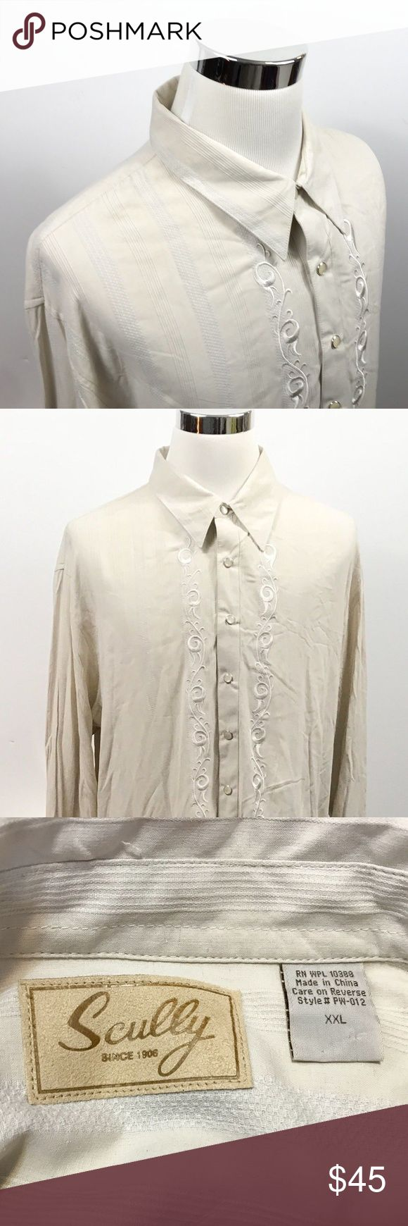 Scully Mens 2XL 100% Silk Pearl Snap Ivory Shirt Scully Mens 2XL 100% Silk Pearl Snap Ivory Woven Striped Western Cowboy Shirt   Measurements (inches): Pit to Pit (across the chest): 27 Sleeve (center collar to cuff): 37.5 Length (top of collar to hem): 35.5  Condition:  This item is in good pre-owned condition! Free from rips & stains.  All items come from a smoke/ pet free environment. Scully Shirts Casual Button Down Shirts