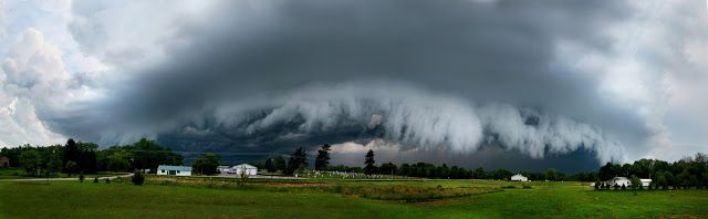 Shelf cloud,shot pano of a super cell thunderstorm. This storm produced a small tornada 10 miles from where i shot thisby BillyRWebb