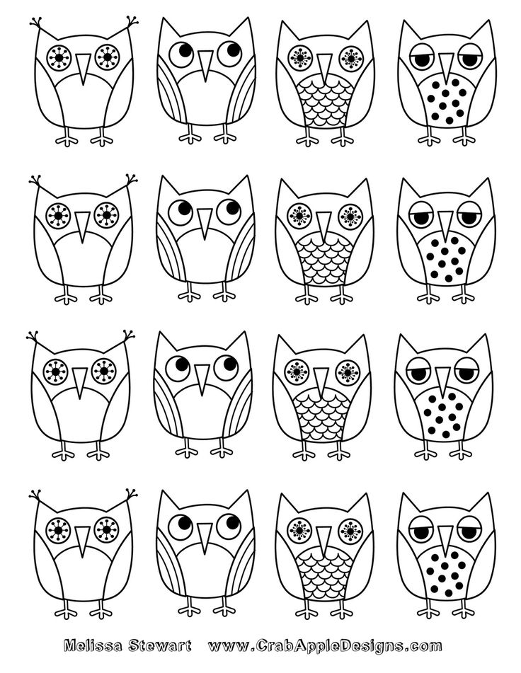 At home with crab apple designs owls coloring page