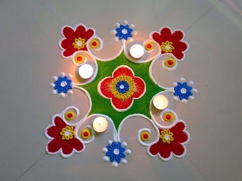 #Easy and #small #rangoli #design with 7*4 interlaced #dots - YouTube