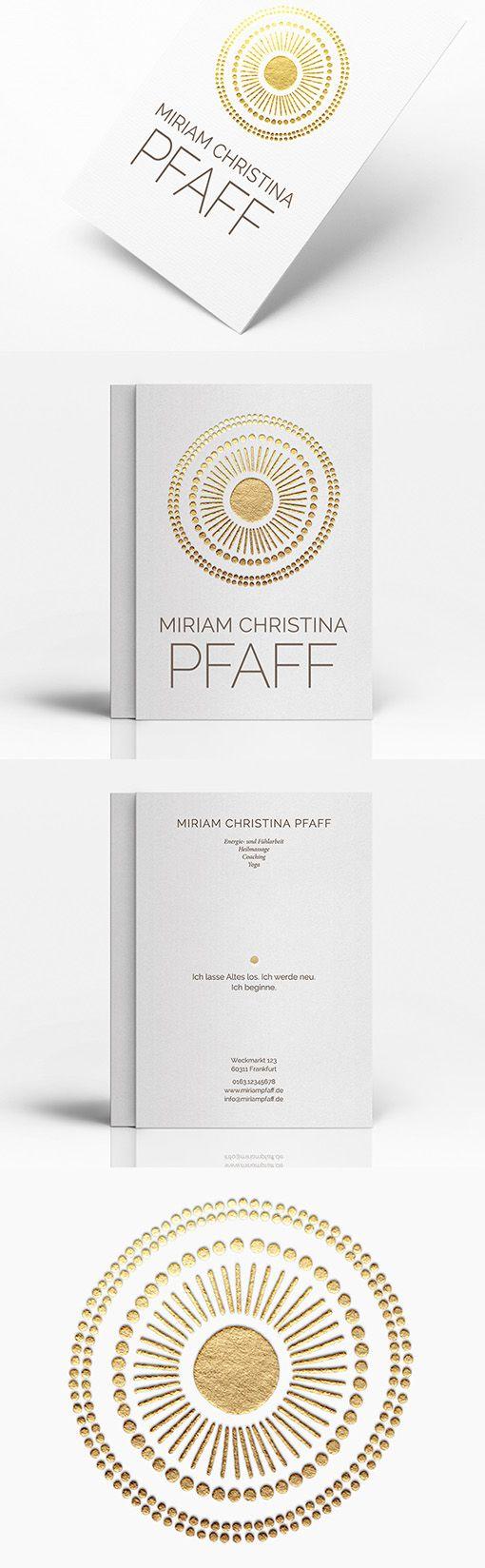 Stylish Gold Letterpress Scandinavian Design Business Card For A Yoga Instructor