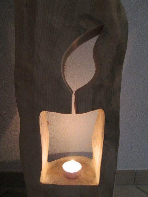 Nr.155, Baumstamm, Kiefer, Kerze 25cm x 21cm x 95cm Holzsäule, Windlicht