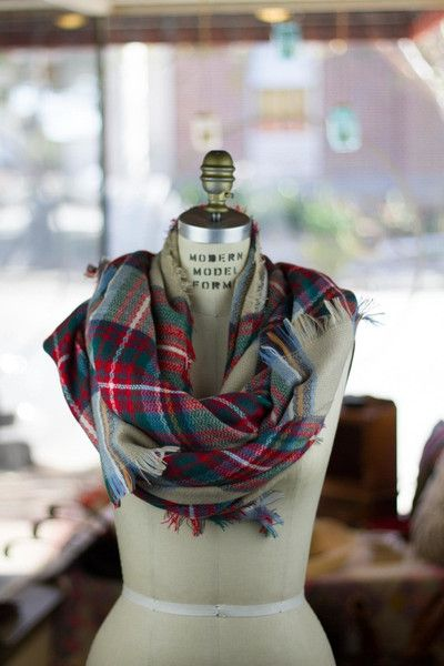 Fall is On the Way - Great Buy On These High Quality Oversized Blanket Scarves. Perfect to fold, twist and wrap into countless styles, these oversized tartan scarves are the perfect weight to layer over your favorite lightweight jacket or winter coat.  100% Cotton, Great Quality Available in 3 Colors: Cream Tartan, Blue & Green, and Red & Black Measures: 55 inches X 55 inches Free shipping on qualifying orders. #bourbonandboots