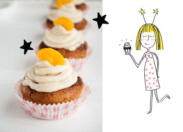 Orange cupcakes with ginger cream