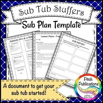 Music-Sub-Tub-Stuffers-Music-Sub-Plan-Template-Substitute-Plans-Editable-2088911 Teaching Resources - TeachersPayTeachers.comLooking for a perfect music sub tub template?  Look no further! Music sub plans are so hard to write and this is the perfect item to get you going!  #elmused #tptmusictribe #pitchpublications