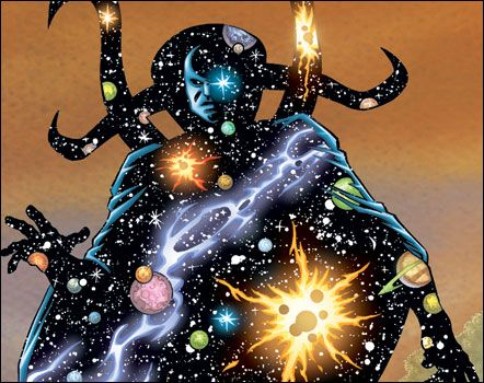 Eternity is the Abstract Entity known to embody the collective consciousness of all living things in the universe. Eternity controls all things in existence second to only the Living Tribunal.