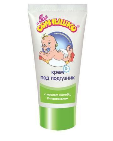 Моё солнышко под подгузник 50 мл Моё солнышко  — 60р. ---------- Крем под подгузник 50 мл  Моё солнышко  эффективно борется с покраснениями и раздражениями на нежной коже младенца. В составе: оксид цинка, создающий защитный барьер и обладающий подсушивающим действием, тальк, масло жожоба, D-пентенол и молочная кислота...