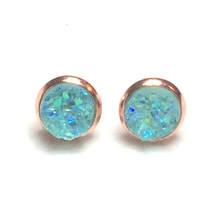 Aqua Blue Rose Gold or Silver Druzy earrings - 8 mm - Faux Druzy Earrings - bridesmaid gift Canada - stud earrings - bridal shower gift idea by AnisasClayCreations on Etsy https://www.etsy.com/ca/listing/575068719/aqua-blue-rose-gold-or-silver-druzy