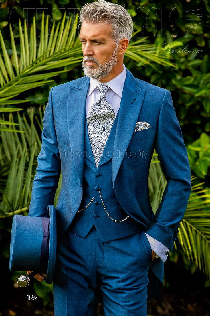 Blue royal peak lapel Italian morning suit  #luxury #menswear #italian #style #groom #wedding #suit