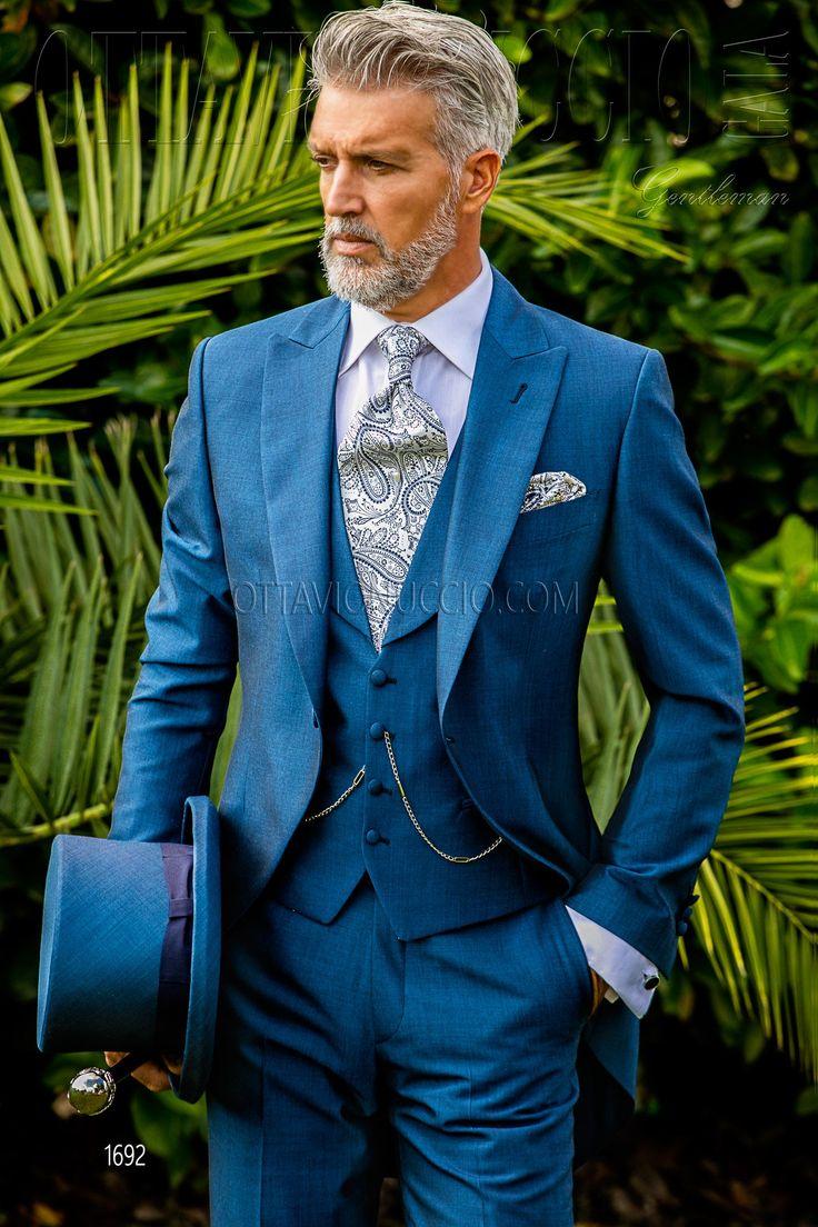 Blue royal peak lapel Italian morning suit #luxury #menswear #italian #style #groom #wedding #suit