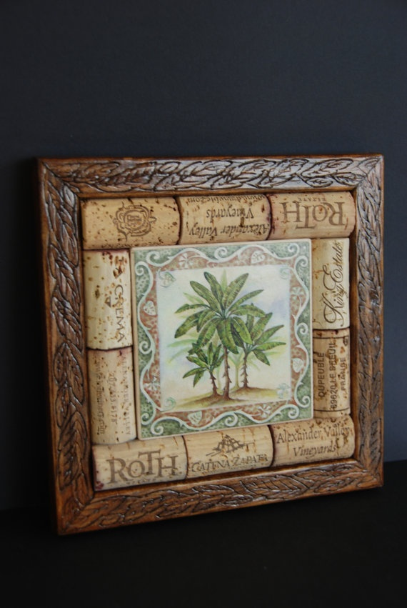 Wine Cork and Palm Tree Tile Trivet by GulfCoasters on Etsy, $17.75