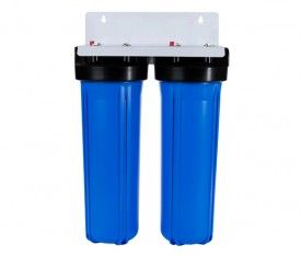 """Whole House Big Blue High Flow Twin 20"""" x 4.5"""" Water Filter System"""