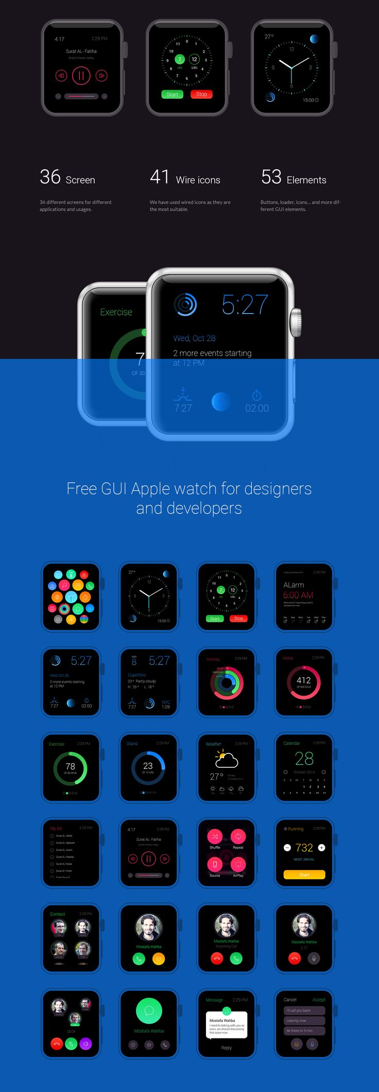 Free Apple watch GUI - 36 Elements on Behance