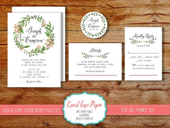 DIY Wedding Invitation Kit Printable Wedding By CoralLanePaper