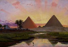 Pyramids of Gizeh, Sunset Afterglow, 1854 by Thomas Seddon (British, 1821 - 1856)