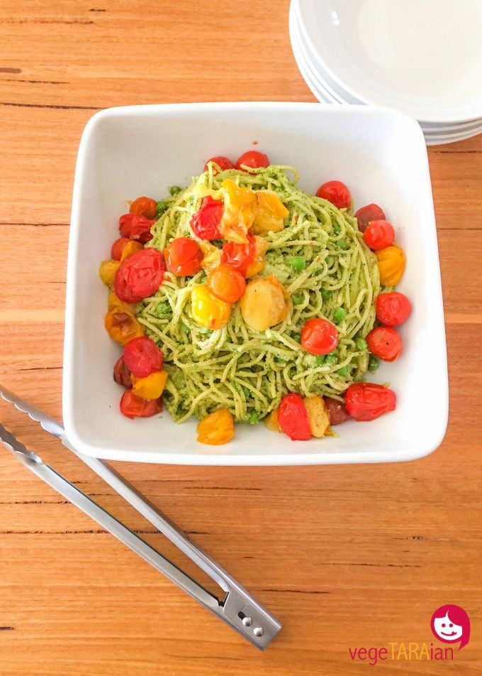 49 best cuisine companion compilation vegetarian recipes in the cc minty pea pesto with spaghetti and roasted cherry tomatoes vegetaraian forumfinder Choice Image