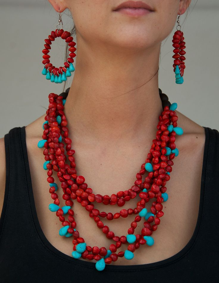 Jumbie Seeds and Turquoise Stones Necklace