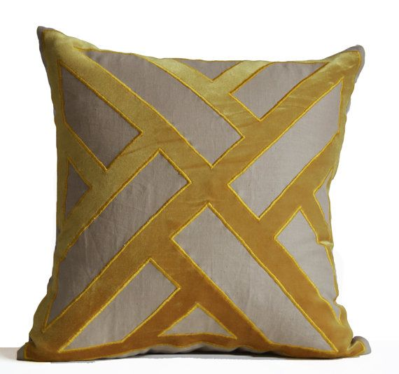 Grey Yellow Velvet Pillow Cushion Cover Geometric Pattern Pillows Contemporary Modern Decor All Sizes Decorative Throw Pillows Gifts Trendy