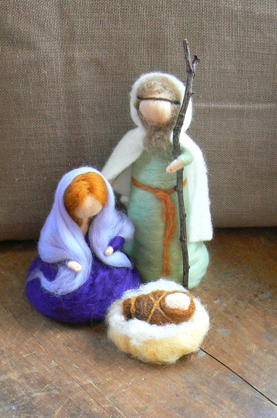 Holy FamilyNativity Scene Baby Jesus Mary and by CloudBerryCrafts, $65.00