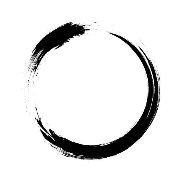 Enso Circular Brush Stroke Japanese Zen Circle Calligraphy N 1 Vector Art Illustration Circle Tattoos Circle Art Black Background Images