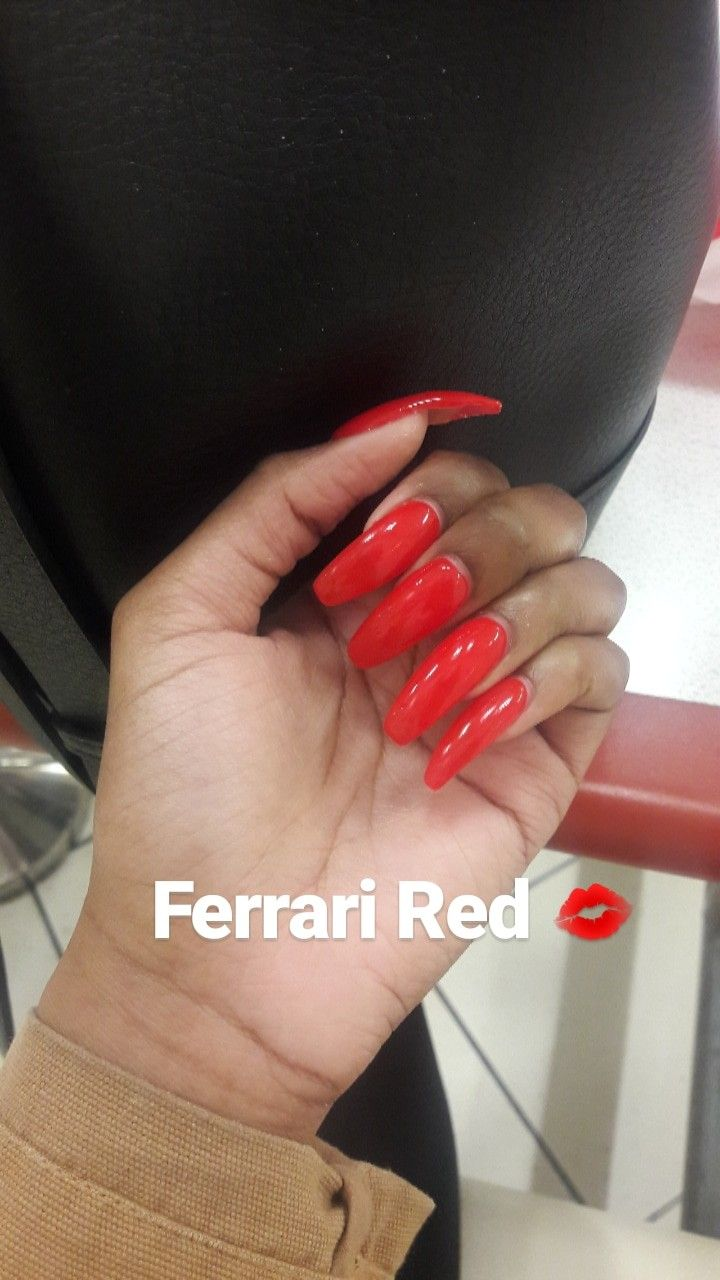Red Coffin Nails Coffin Nails Long Nails Acrylic Rednails