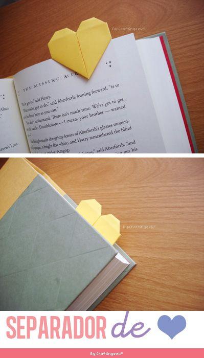 Cómo hacer un separador en forma de corazón: http://www.youtube.com/watch?v=ClkN6s0xx8U